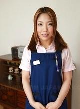 Hot Asian Yui Takatsuki in cute uniform reads